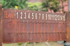 Vecchio tabellone segnapunti arrugginito Immagini Stock