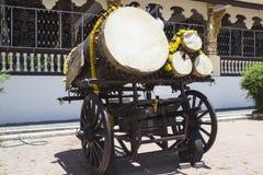 Vecchio tamburo di cuoio fotografia stock