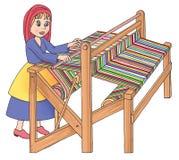 Vecchio telaio di legno nella tessitura Fotografie Stock Libere da Diritti