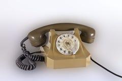 Vecchio telefono con un cavo Fotografia Stock Libera da Diritti