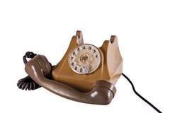 Vecchio telefono con un microtelefono Fotografia Stock Libera da Diritti