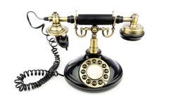 Vecchio telefono del nero dell'annata Fotografia Stock Libera da Diritti