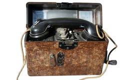 Vecchio telefono del portable dell'esercito Immagine Stock Libera da Diritti