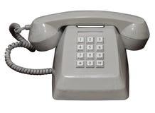 Vecchio telefono di modello isolato dello scrittorio su fondo bianco con il percorso di ritaglio Fotografie Stock
