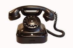 Vecchio telefono fondo di legno/d'annata di bianco di stile Fotografia Stock