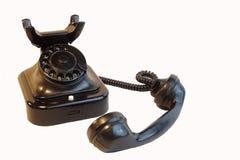 Vecchio telefono fondo di legno/d'annata di bianco di stile Immagine Stock