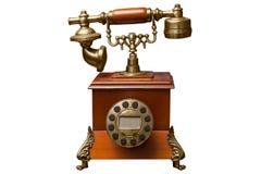 Vecchio telefono isolato su fondo bianco fotografia stock