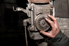 Vecchio telefono nella miniera Fotografia Stock