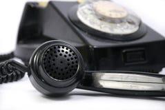 Vecchio telefono nero Fotografia Stock