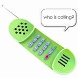 Vecchio telefono protetto verde isolato del microtelefono immagini stock