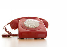 Vecchio telefono rosso Fotografie Stock