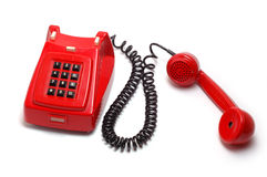 Vecchio telefono rosso Immagini Stock Libere da Diritti