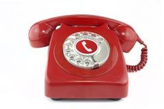 Vecchio telefono rosso degli anni 70 Fotografia Stock Libera da Diritti