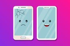 Vecchio telefono rotto con uno schermo rotto e un nuovo smartphone pulito Confronto di vecchio e di nuove tecnologie Dispositivo  illustrazione di stock