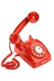 Vecchio telefono sopra priorità bassa bianca Fotografia Stock Libera da Diritti