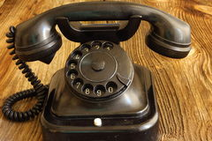 Vecchio telefono stile di legno/d'annata Fotografia Stock