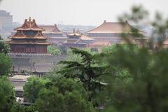 Vecchio tempio di buddismo con gli alberi verdi su priorità alta Torri asiatiche rosse della pagoda Tempie antiche dell'asiatico  Fotografia Stock Libera da Diritti
