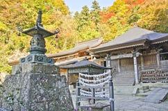 Vecchio tempio di Yamadera in Autumn Season Fotografia Stock Libera da Diritti