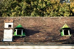 Vecchio tetto con i timpani Fotografia Stock Libera da Diritti