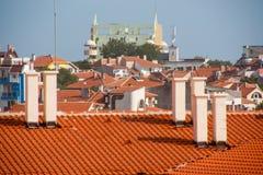 Vecchio tetto dell'argilla in Pomorie, Bulgaria Fotografia Stock Libera da Diritti