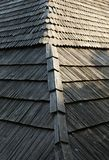 Vecchio tetto di legno dell'assicella Immagine Stock