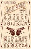 Vecchio tipo ad ovest illustrazione di stock