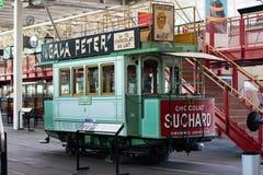 Vecchio tram con la pubblicità di Suchard Fotografia Stock