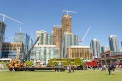 Vecchio treno al parco del Roundhouse a Toronto, Ontario Fotografie Stock Libere da Diritti