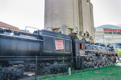 Vecchio treno al parco del Roundhouse a Toronto, Ontario Fotografia Stock