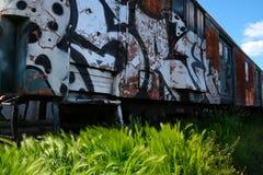 Vecchio treno nel deposito coperto nei graffiti fotografia stock