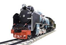 Vecchio treno a vapore isolato su bianco fotografia stock libera da diritti