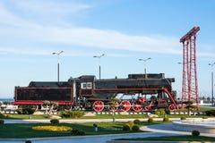 Vecchio treno a vapore nel parco di spiaggia a Bacu, Azerbaigian Fotografia Stock Libera da Diritti