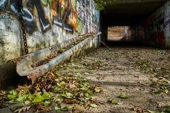 Vecchio tunnel pedonale con i graffiti fotografia stock