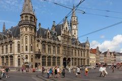 Vecchio ufficio postale Korenmarkt gand belgium fotografia stock