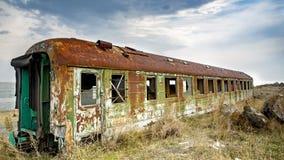Vecchio vagone russo arrugginito di sonno immagine stock libera da diritti