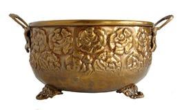 Vecchio vaso da fiori ornamentale d'ottone Fotografia Stock Libera da Diritti