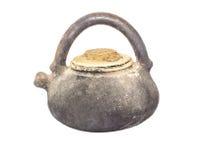 vecchio vaso di argilla isolato Fotografia Stock Libera da Diritti
