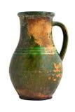 Vecchio vaso verde dell'argilla Immagini Stock