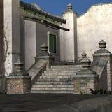 Vecchio villaggio asiatico della porta Fotografia Stock