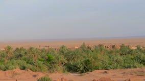 vecchio villaggio dell'adobe situato in un'oasi stock footage