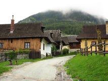 Vecchio villaggio della costruzione, Vlkolinec (Unesco), Slovacchia Immagine Stock Libera da Diritti