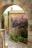 Vecchio villaggio medioevale spagnolo, chiamato Pals Fotografie Stock Libere da Diritti