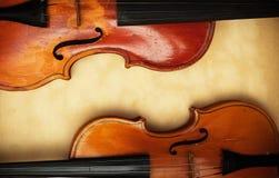 Vecchio violino due Fotografia Stock Libera da Diritti