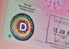 Vecchio visto tedesco di immigrazione Fotografie Stock Libere da Diritti