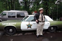 Vecchio volante della polizia con le luci rosse sopra Fotografie Stock Libere da Diritti