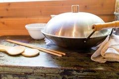 Vecchio wok cinese Fotografia Stock