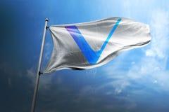 Vechain VET cryptocurrency icon on flag stock photo