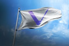 Vechain VET photorealistic flag in wind stock image