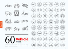 60 vechile icons. Set of transport icons for web or services. 60 design line vechile icons high quality, vector illustration Royalty Free Stock Photo
