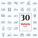 30 vechile icons. Set of transport icons for web or services. 30 design line vechile icons high quality, vector illustration Royalty Free Stock Photo